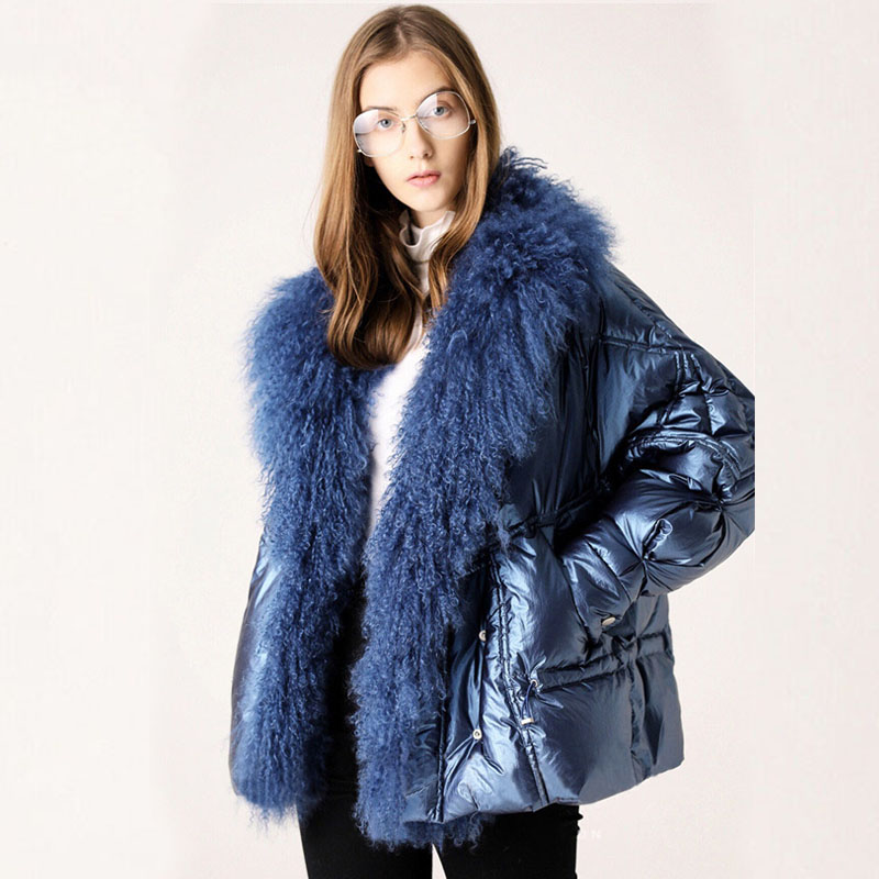 Large Real Fur Collar 2019 Winter Jacket Women 90% White Duck Down Coats Short Loose Parkas Outerwear Waterproof Glossy Jackets