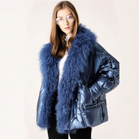 Large Real Fur Collar 2019 Winter Jacket Women 90% White Duck Down Coats Short Loose Parkas Outerwear Waterproof Glossy Jackets