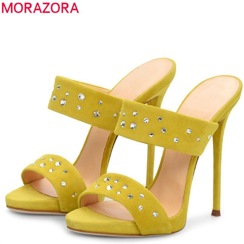 MORAZORA 2019 New Style women sandals flock crystal stiletto heels shoes woman summer shoes elegant prom