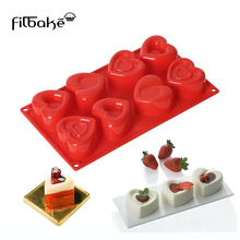 8 Cavity Heart Shaped Cake Mold Baking DIY Silicone Flexible Chocolate for Muffin, Soap, Cupcake, Pudding and Jello
