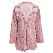 Women Winter Wool Overcoat Warm Outerwear Faux Fur Coat Turn Down Collar Long Sleeve Cardigan