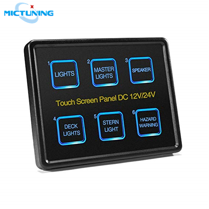 MICTUNING 12V 24V Advanced 6 In 1 Touch Screen Switch Panel 6 Gang LED Slim Touch Control Panel Box for Car Marine Boat Caravan