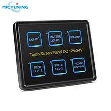 MICTUNING Erweiterte 6 In 1 Touchscreen Schalter Panel DC12 24V 6 Gang LED Slim Touch Control Panel Box für Auto marine Boot Caravan