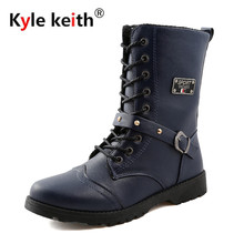 Kyle Keith Men Martin Boots Fashion Combat Boot Winter Fur 2018 New Pu Leather Waterproof Buckle  Boots Men Shoes