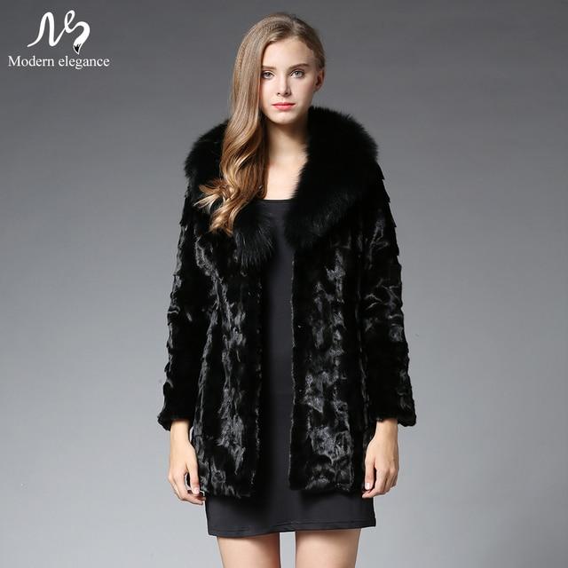 2017 Fashion Black Real Fox Fur Collar Genuine Mink Fur Coat for Women Autumn&Winter Warm Mink Fur Coat Female Ourwear Jacket