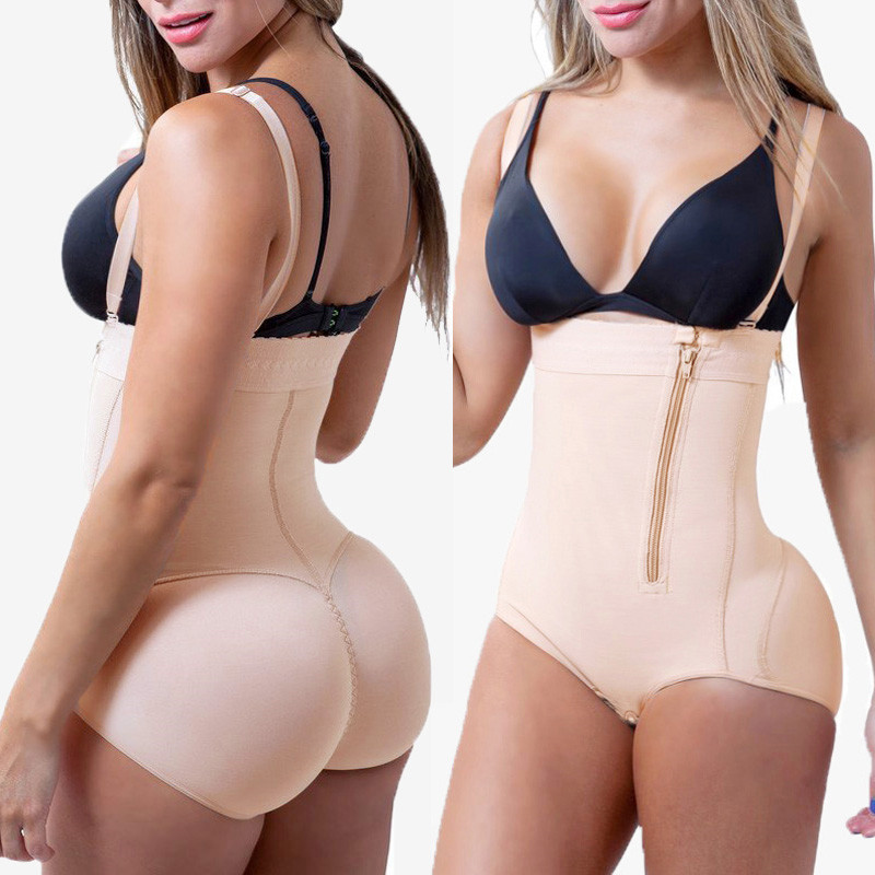 4d1d92b53cb Plus Size Hot Latex Women s Body Shaper Post Liposuction Girdle Clip and Zip  Bodysuit Vest Waist ...