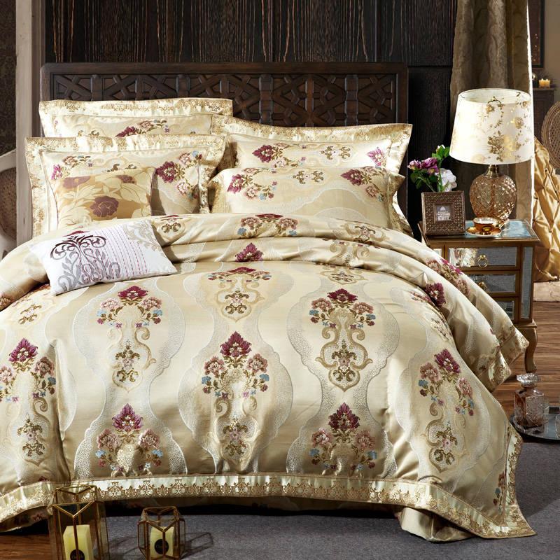 ᗚRoyal jacquard bordado Ropa de cama boda acolchado colchas King ...