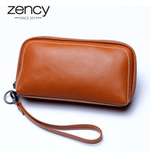 6 Colors Fashion Female Purse 100% Genuine Leather Excellent Quality Women Clutch Bag European and American Style Wristlets Bags