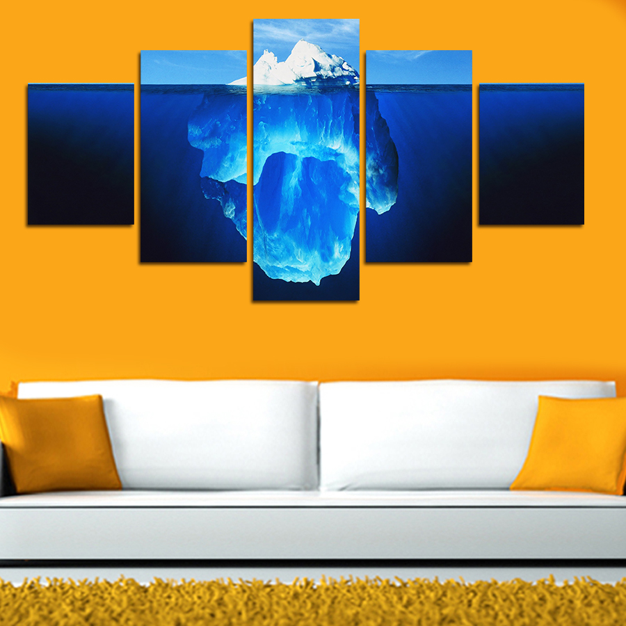 Canvas Painting 5 Pieces Tip Of The Iceberg Painting Canvas Wall Art ...