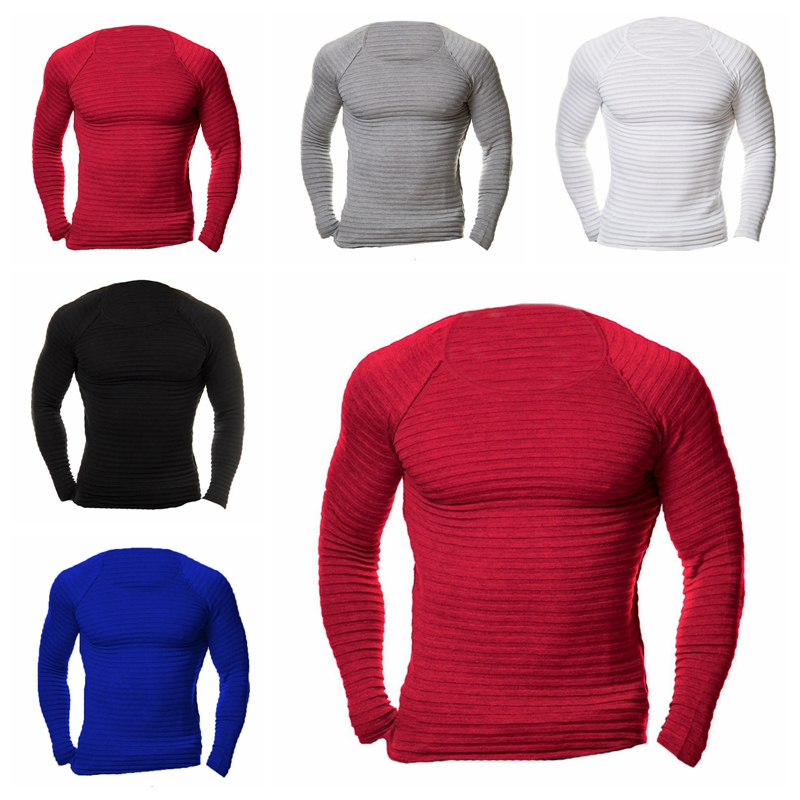 2018 Mens Long Sleeve T-shirts Crew Neck Tops Slim Fit Solid Elastic Knitted Tee Tops Casual Muscle T Shirt Underwear 4XL Winter
