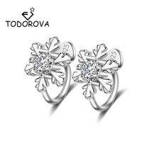 Todorova Fashion Snowflake Clip Earrings Without Piercing Ear Cubic Zircon Cuff Earirngs for Women Jewelry Accessories