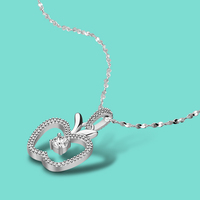 925 Sterling Silver Necklace Female Cute Apple Pendant Necklace Charm Jewelry Solid Silver Clavicle Necklace 46cm