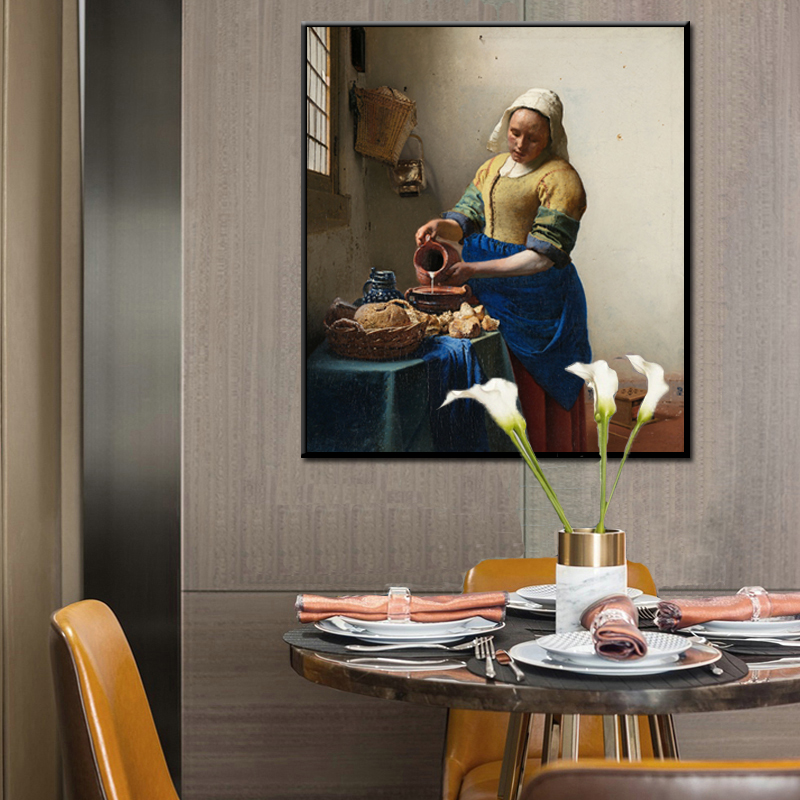 Netherlands Artist Johannes The Milkmaid Poster And Prints Wall Art Canvas Pianting Decorative Picture For Living Room