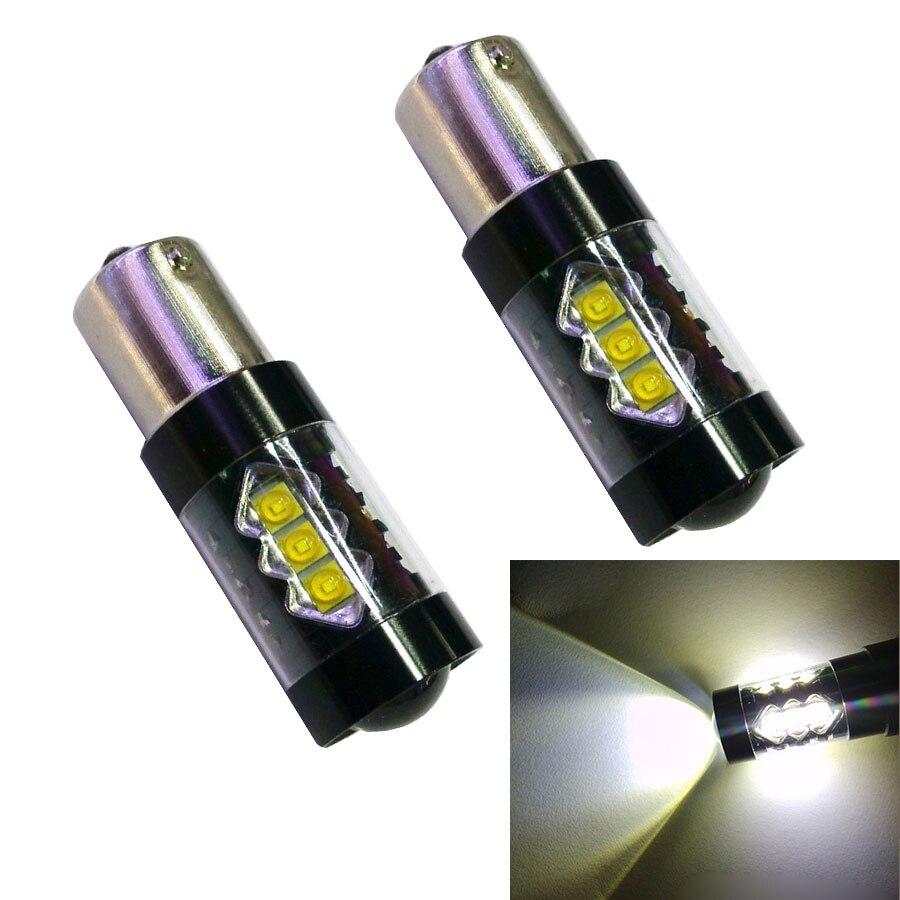 2PCS High Power S25 1156 BA15S P21W 80W 16 White LED Chip Car Signal Reverse Backup Lamp White Car Light Sourcing DC12V