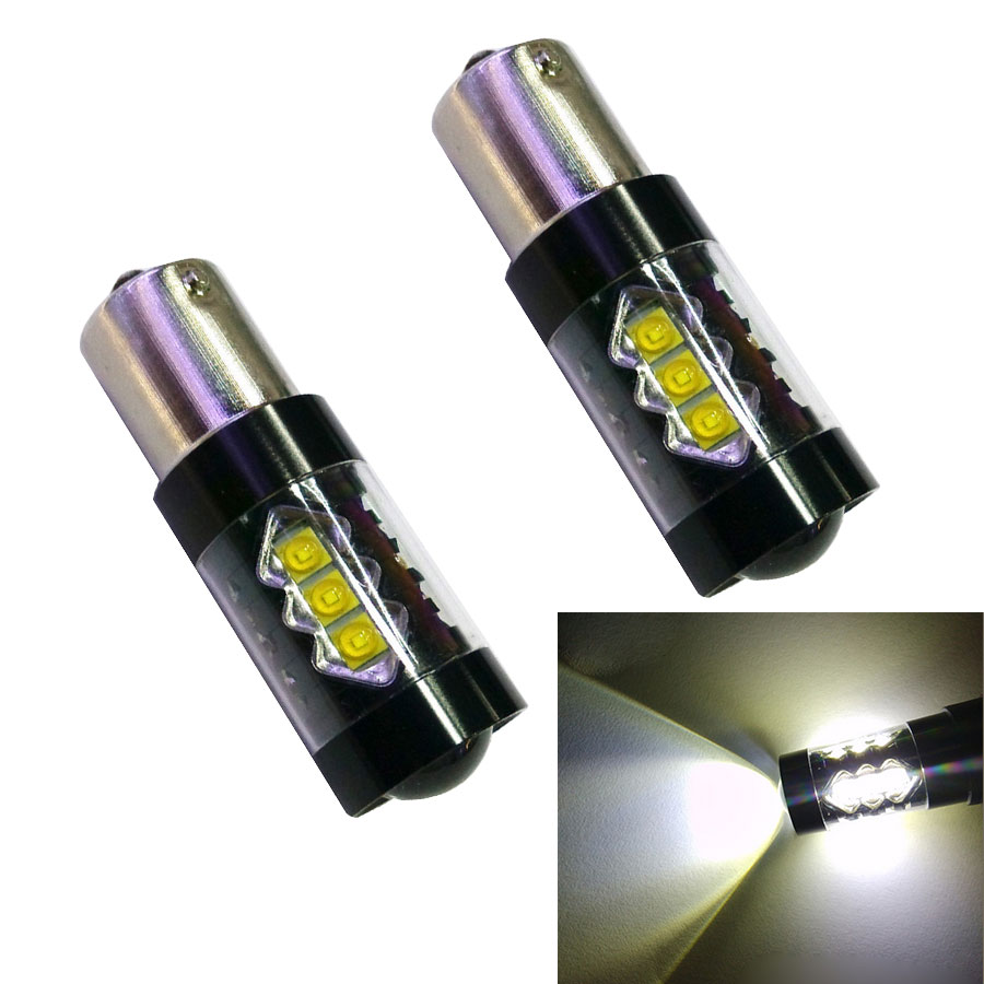 2PCS High Power S25 1156 BA15S P21W 80W 16 White LED Chip Car Signal Reverse Backup Lamp ...