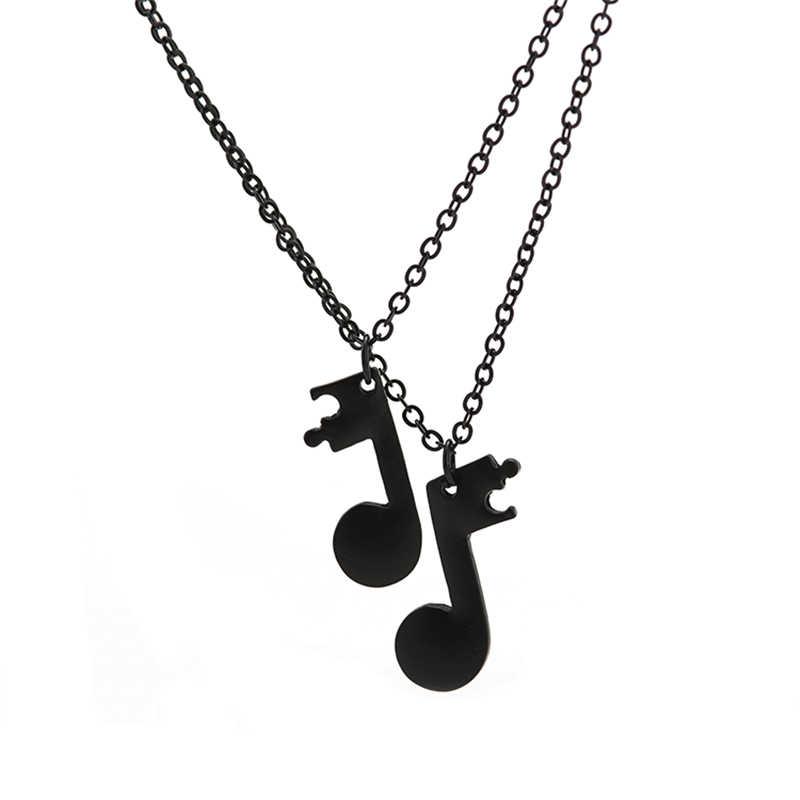 2 قطعة/المجموعة أفضل الأصدقاء قلادة للنساء الفتيات الموسيقية ملاحظة القلائد الصداقة للأبد BFF سحر الموسيقى عاشق مجوهرات هدية 2019