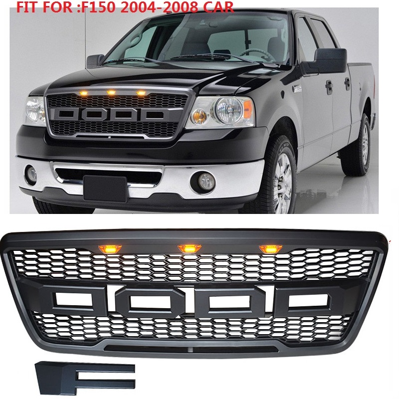 F-150 modified front Racing grill With Led Light grille ABS black front trim Replacement Grill Raptor fit for <font><b>F150</b></font> 2004-2008 image
