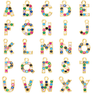 ZHUKOU 10x13mm Simple and Fashion candy crystal letter pendant for necklace earrings accessories Making model:VD436(China)