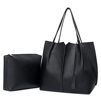 2 PCS Set High Quality Women Handbag Tote Bag Solid Color Shoulder Bag Simple Fashion PU