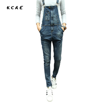 Fashion Bib Denim Overalls For Men 2015 New Long Solid Black Slim Cowboy Overall Cotton Skinny