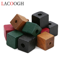 2019 New 50pcs 12mm 14mm Red Green Black Color Natural Wood Beads Square Shape Spacer for DIY Craft Jewelry Findings
