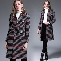 Fashion woolen coat winter Single breasted Houndstooth pea coat Cultivating long wool trench coat overcoat plus size M XXXXXL