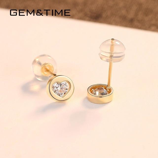 Round Heart 14K Gold Stud Earrings 4