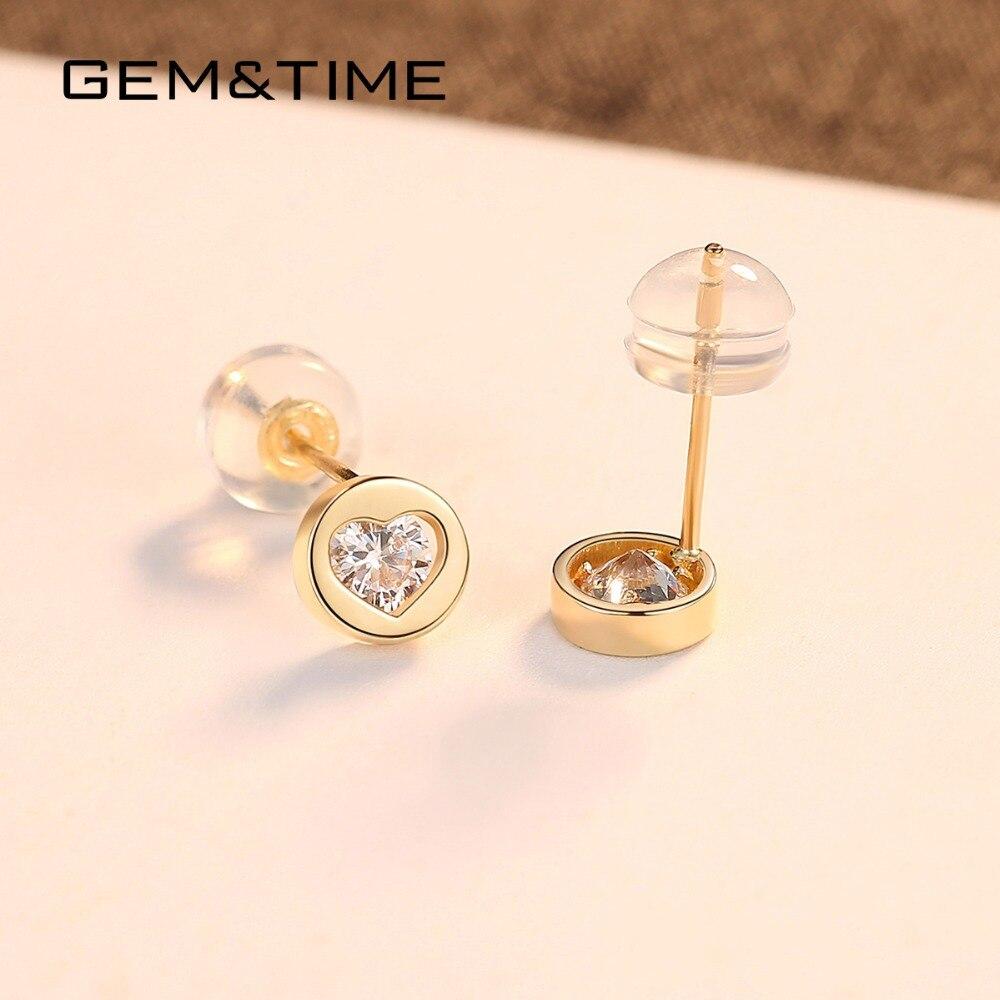 Gem & Time rond coeur solide 14K or boucles d'oreilles pour les femmes de mariage fiançailles bijoux fins or jaune Pendientes AU585 E14118 - 5