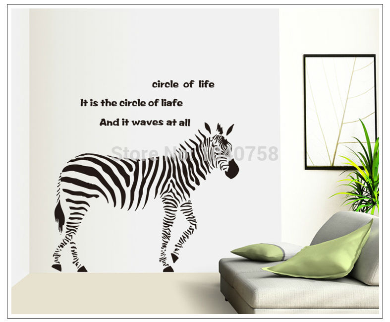 Living Room Sayings aliexpress : buy large pvc zebra wall sticker living room