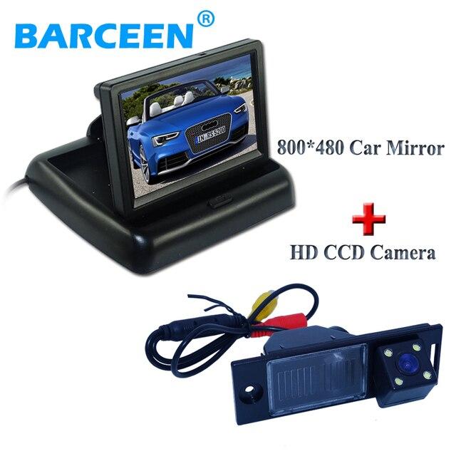 Grandes Vendas 4.3 Polegada TFT LCD Retrovisor Do Carro Monitor Espelho Luzes de estacionamento Retrovisor Monitor + 4 IR Câmera Reversa Do Carro para IX35 2014-16