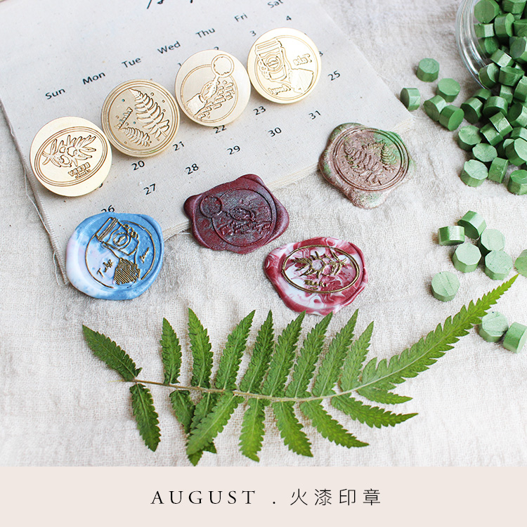 Moodtape Personality Stamp Wood Wax Seal Stamp For DIY Gift / Invitation  Album Decorative Stamp Coffee Ferns Metal Stamp Seal