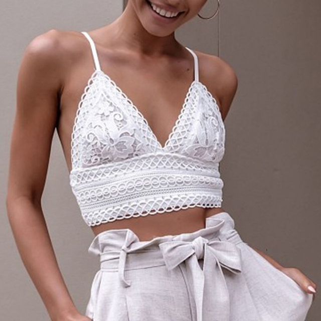 d0a29682def 2018 Sexy Spaghetti Straps Tank Top Cotton Crochet Deep V-shaped Neckline  Backless Vest Crochet Crop Top Bralette Camis Camisole