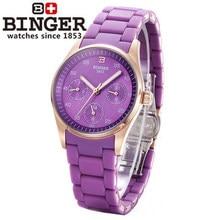 Hot Sell Brand Binger Sexy Purple Watches Rose Gold Girl Japan Quartz Wristwatch Three Round Date