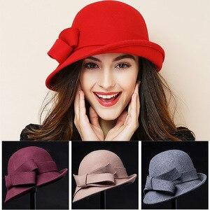 Image 3 - Kadın parti resmi şapkalar bayan kış moda asimetrik ilmek 100% yün keçe şapkalar