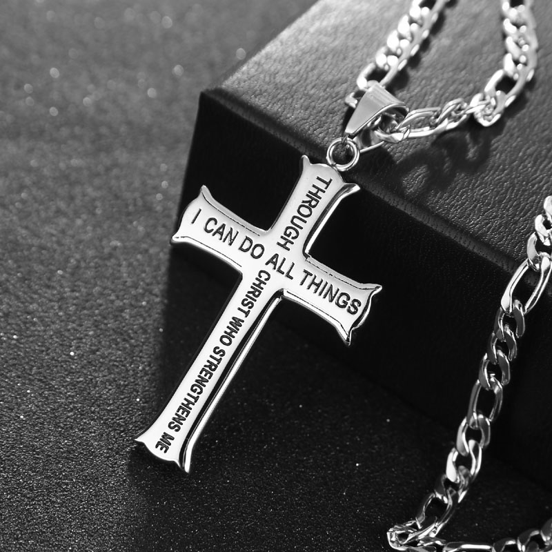 """24inch Stainless Steel Christian Mens Abstinence """"I Can Do All Things Through Christ"""" Philippians Iron Cross Purity Necklace Pendants    - AliExpress"""