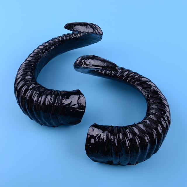 2pcs Black Large Ram Horns For Diy Gothic Hair Headpiece Headband