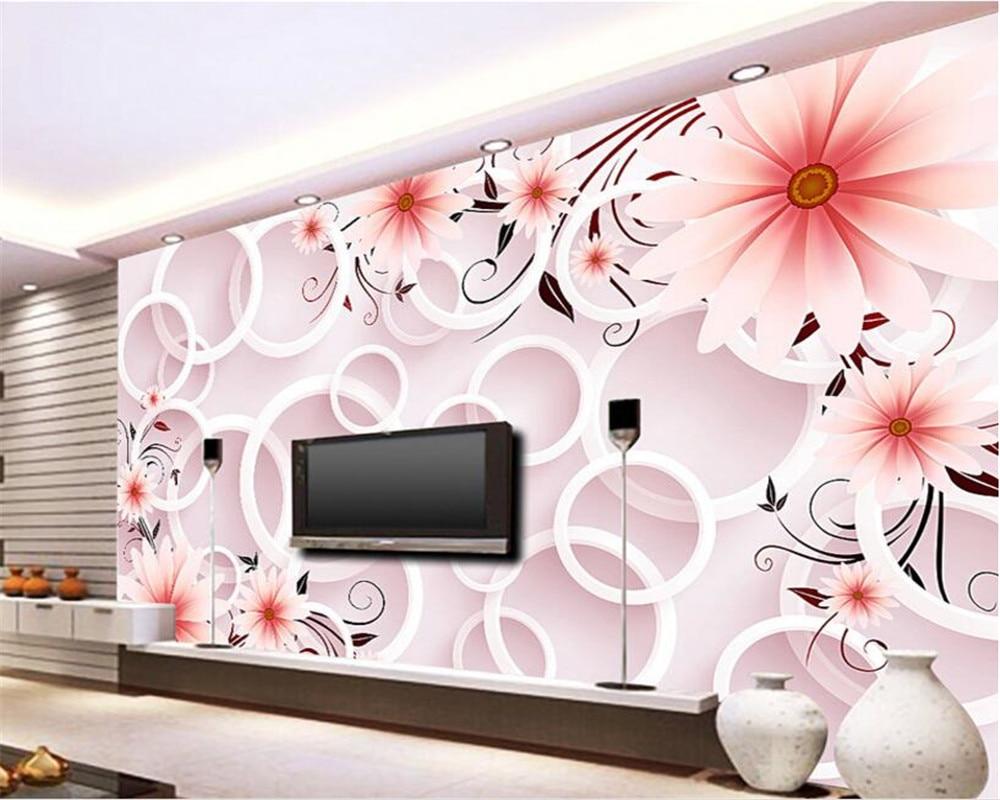 US $8.85 41% OFF|Beibehang Moderne Wohnzimmer Hintergrund 3D Tapete  Fantasie Rosa blume 3D Kreis TV wand 3d tapete papier peint wandbild 3d-in  Tapeten ...