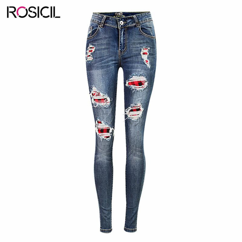 New High Quality Hole Jeans Fashion Blue Female Slim Stretch Women Sexy Mid Waist Jeans Ladies Pants Stretchy Denim Pencil Pants spring new women jeans high waist stretch ankle length slim pencil pants fashion female jeans 2017 plus size sexy girl jeans