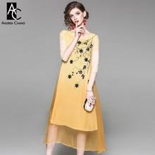 19272b995d Verano primavera mujer vestido verde azul oro hoja azul flor patrón bordado  algodón del pecho vestido de seda gradiente vestido .