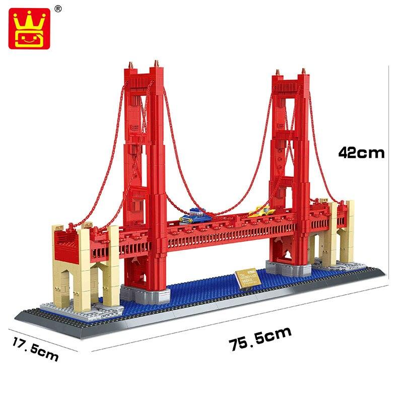 Wange 8023 1977Pcs Street View Series Golden Gate Bridge Model Building Blocks set DIY Bricks Toys for Children
