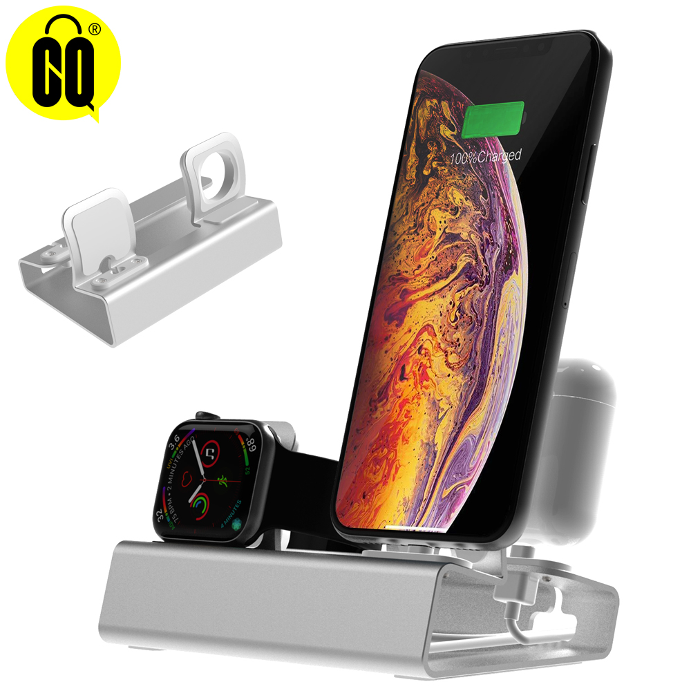 3 in 1 Charging <font><b>Dock</b></font> Holder For <font><b>Iphone</b></font> X XR MAX 8 7 6 5 Aluminum charging stand <font><b>Dock</b></font> <font><b>Station</b></font> For Apple watch Airpods image