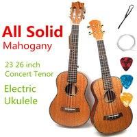 Гавайская гитара Акустическая Электрический Концерт тенор 23 26 дюймов все полный массива красного дерева гитара 4 струны Ukelele Guitarra ручной ра