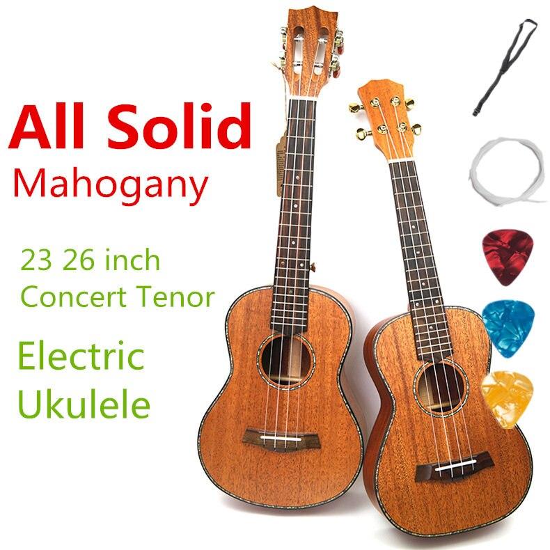 Ukulélé Acoustique Électrique Concert Tenor 23 26 pouce Tous Plein Acajou Massif Guitare 4 Cordes Ukulélé Guitarra Handcraft Uke