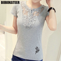 BOBOKATEER Fashion Ladies Summer Lace Shirt Women Blouse Casual White Short Sleeve Womens Tops And Blouses
