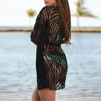 2019 Women Lace Mesh Solid Cardigan Bikini Beach Cover Up Perspective Crochet Kaftan Beach Dress Swimsuit Beach Wear Pareo Playa 2