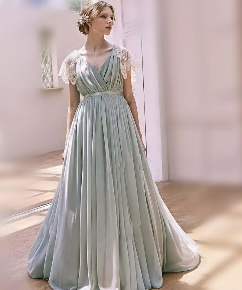 Vestido De Noiva 2019 Vintage Lace Bow Beach Wedding Dress Sexy V