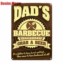 DADS BBQ Plaque Vintage Metal Tin Signs Home Bar Pub Decorative Plates Grab A Beer Wall Stickers Art Poster Gift N195