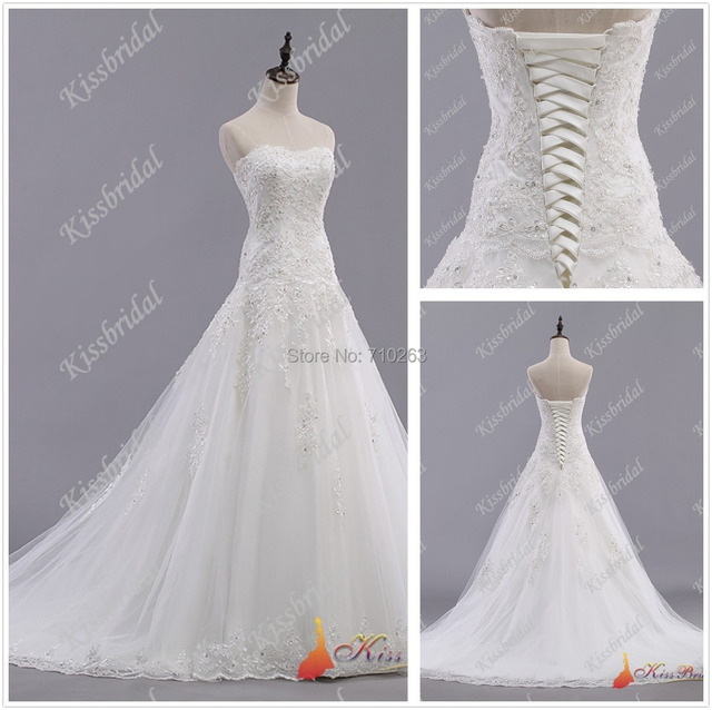 Superieur Elegant 2017 Tulle Wedding Dress Sweetheart Lace Up Back Chapel Train A  Line Applique Bridal