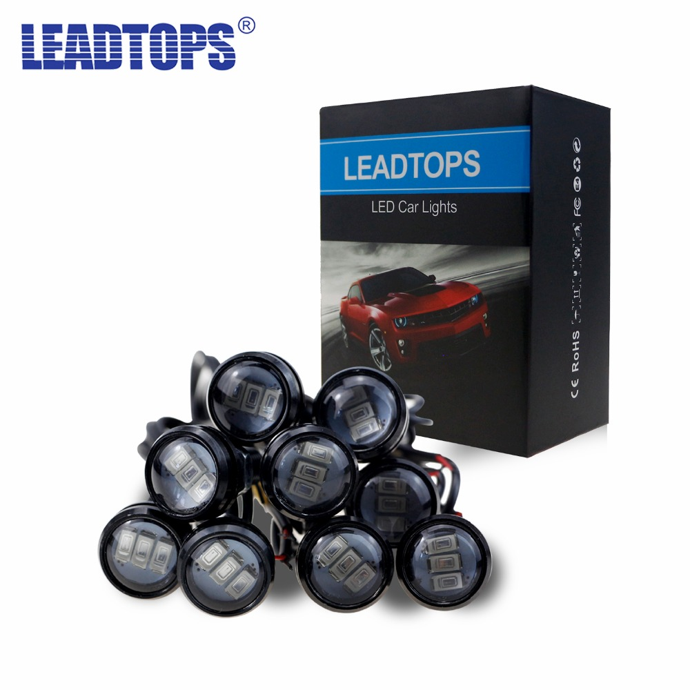 LEADTOPS 10 Pcs / Lot Kedatangan 10 W 12 V 5730 LED Eagle Eye 3 SMD LED Daytime Running Light Mobil Daya Tinggi Cahaya Untuk audi CE