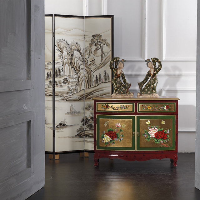 Modern Neoclassical Model Room Hotel Chinese Korean High End Furniture  Living Room Painted Gold Sideboard